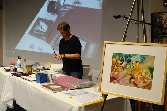 art demo at the Wellesley Free Library